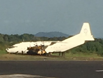 Aircraft at the side of Juba runway from an earlier near miss in October