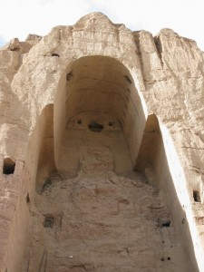 The empty hollow that once held the 6 century Buddha, Bamiyan, Afghanistan