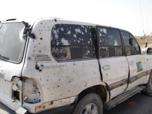 a vehicle of mine from Iraq after an IED stike. Although the ourside is battered, the interior was not comprimised.